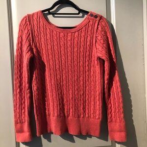 Eddie Bauer Crew Neck Coral Braided Knot Sweater